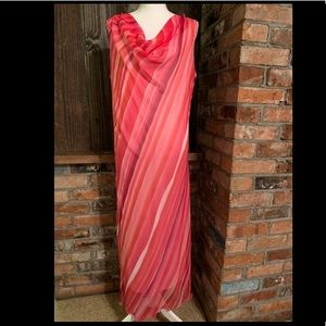 Enfocus Studio Sleeveless Pink Striped Long Dress